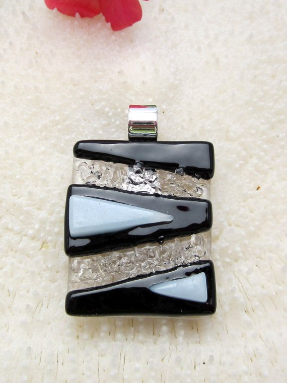 Fused glass pendant, fused glass jewelry, art glass - Black and white textured pendant