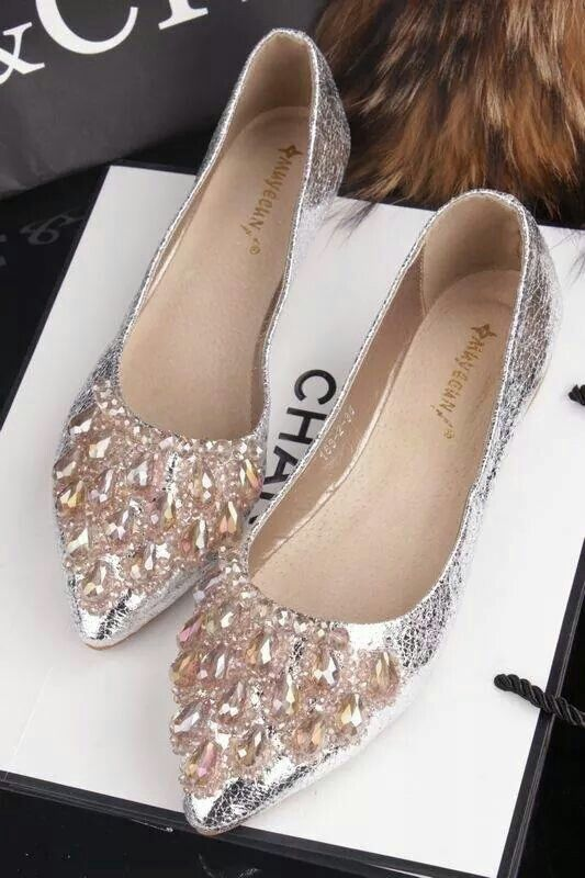Chanel Flat Shoes Beaded Silver Grey Shades Of
