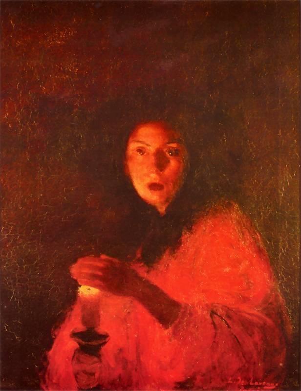 """""""Przestrach"""", 1890 by Ludwik de Laveaux (Polish 1868-1894), olej na płótnie"""