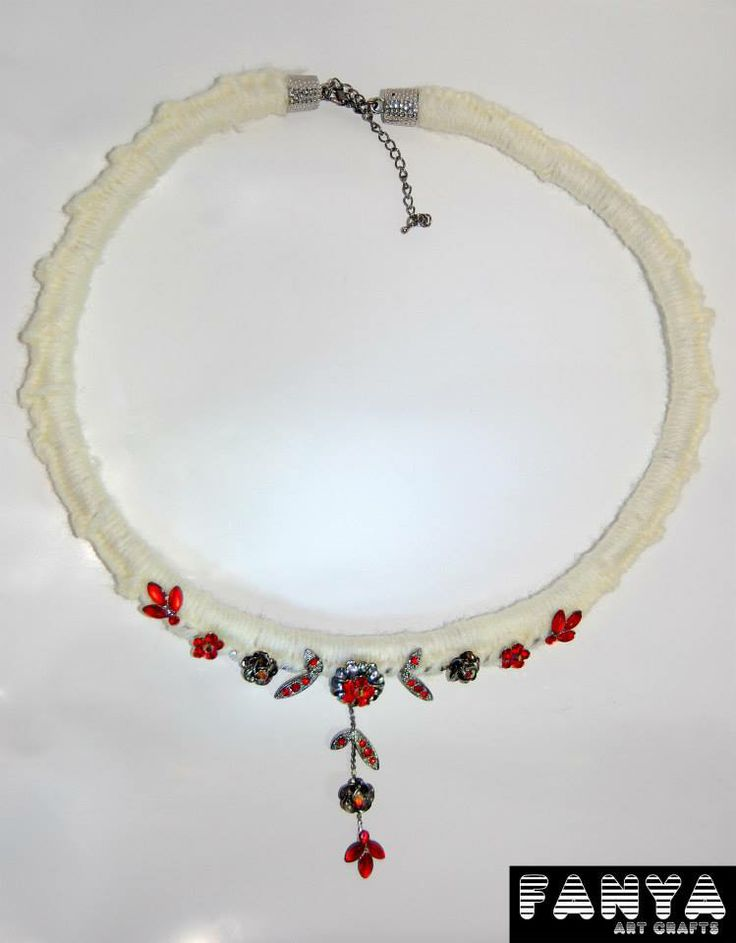 "Statement necklace ""Red Innocence""  Hand crocheted paracord in acrylic fiber"