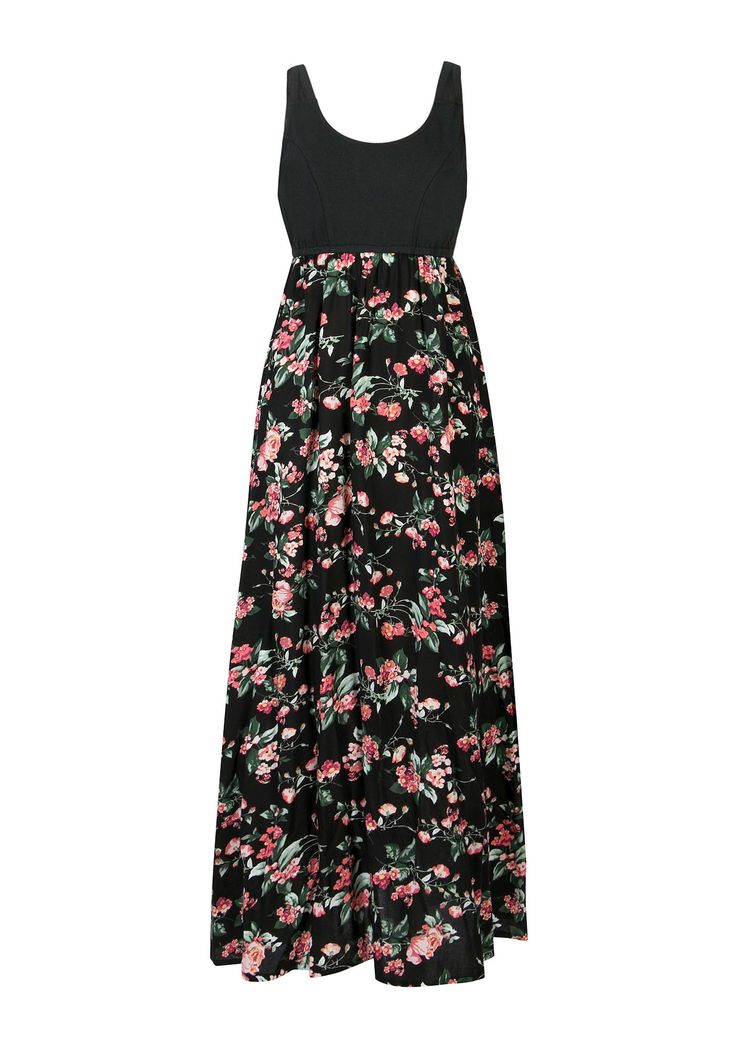 Knit Top with Floral Printed Skirt Maxi Dress