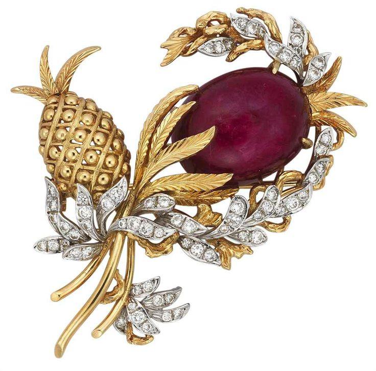 A ruby and diamond brooch #christiesjewels #brooch #pineapple #flower