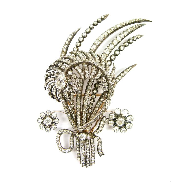 Early 19th century diamond feather and spray tremblant aigrette, c.1810