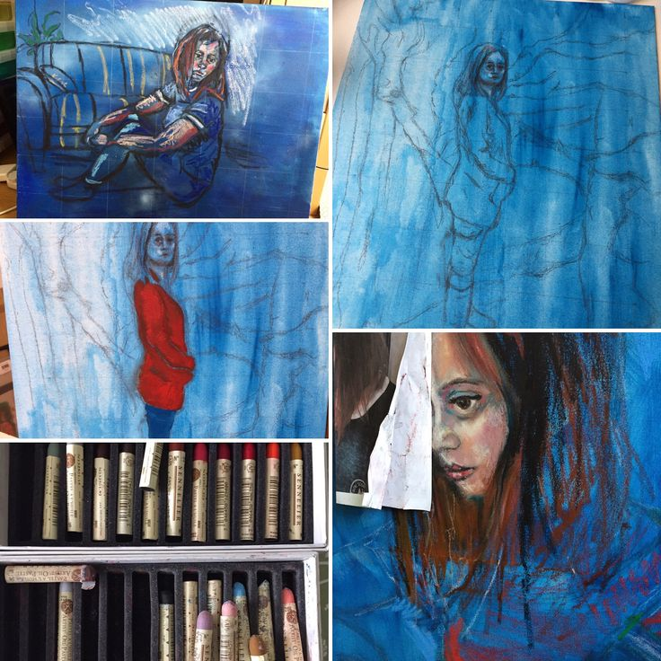 Drawings on canvas completed. Now to start painting.  #oilpastel #drawing #portrait #wip