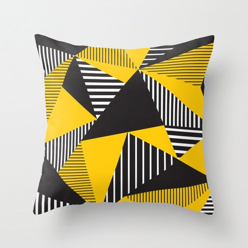 Black and Yellow Decorative Throw Pillow Cover Pattern Designer Accent Pillow Bench Cushion Chair Houseware Home Decor