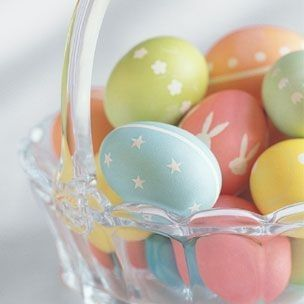 Decorate eggs with stickers - after they've been dyed, remove the stickers to reveal the white underneath!