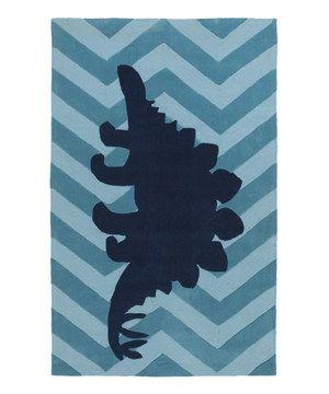 Look what I found on #zulily! Navy Zigzag Stegosaurus Budding Rug by Surya Kids #zulilyfinds