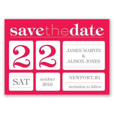 This handy save the date magnet in a bold typography style will make sure guests clear their calendar for your special day.