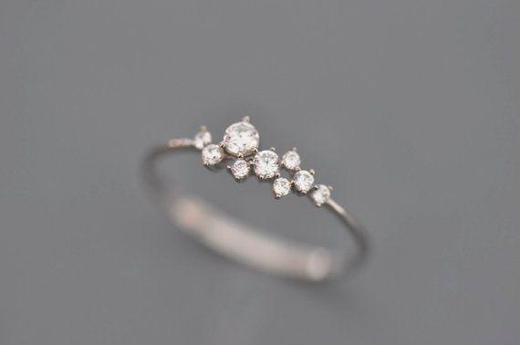 14 k or blanc tactique délicate et mince anneau incrusté de