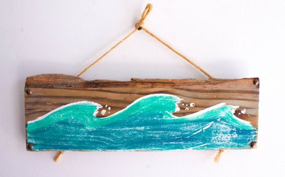 Ocean Wave Beach Sign Hand Painted on Reclaimed Distressed Wood Beach Cottage Style Beach Baby Nursery Surf Baby Kids Room Beach Decor