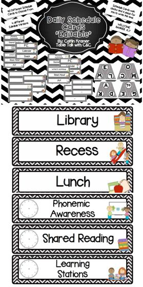 Daily Schedule-Cards Black and white Chevron-editable-classroom library labels.  Visual daily schedules are critical for primary students and students with special needs. Helping your students know what to expect for the day can help your students be ready for the day!