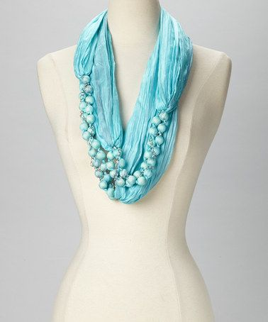 Take a look at this Aqua Silk Beads Infinity Scarf by Lua on #zulily today!