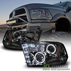 Smoke 2009-2017 Dodge Ram 1500 2500 3500 Halo LED Projector Headlights Headlamps