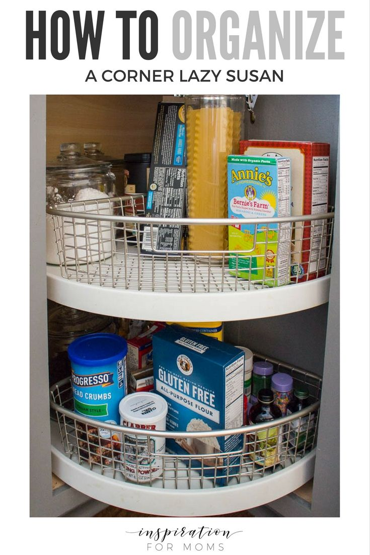 Does your cabinet lazy susan got you spinning? See how easy organizing the corner lazy susan can be! #organize #kitchenorganization #kitchens #organization