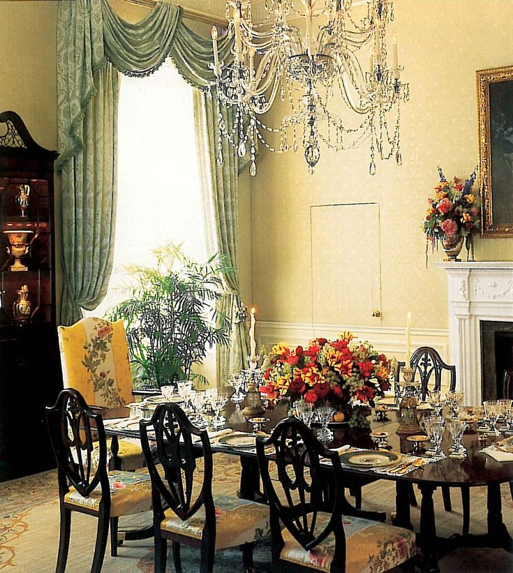 Whitehouse - Family Residence Dining Room in the 1990s, Clinton administration. Scalamandre Villa Lante stripe on chairs