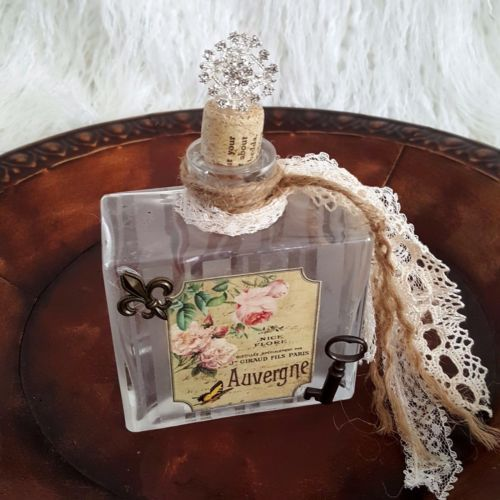 Altered Decorative Bottle Country French Paris Perfume Label Skeleton Key Lace