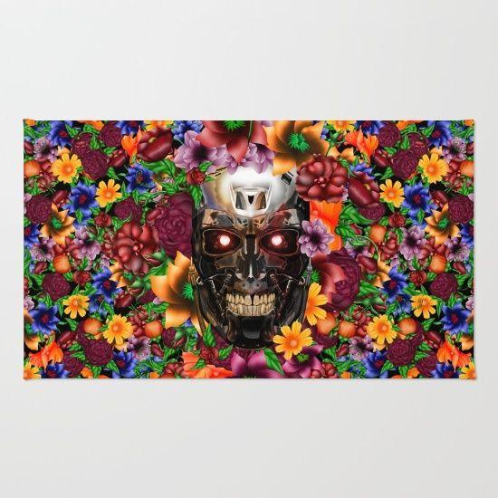 Sugar Chrome skull terminator face RUG #rug #painting #digital #ink #watercolor #popart #comic #pattern #dayofthedead #sugarskull #diadelosmuertos #flower #rose #daisy #terminator #robot #cyborg #sciencefiction