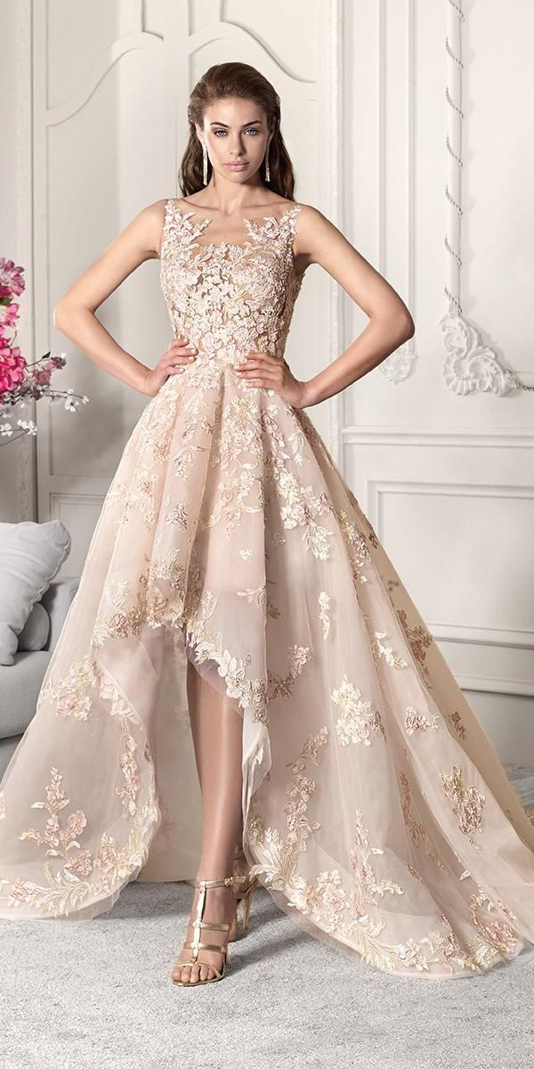 high low wedding dresses illusion neckline lace floral appliques blush  demetrios debad8901a15