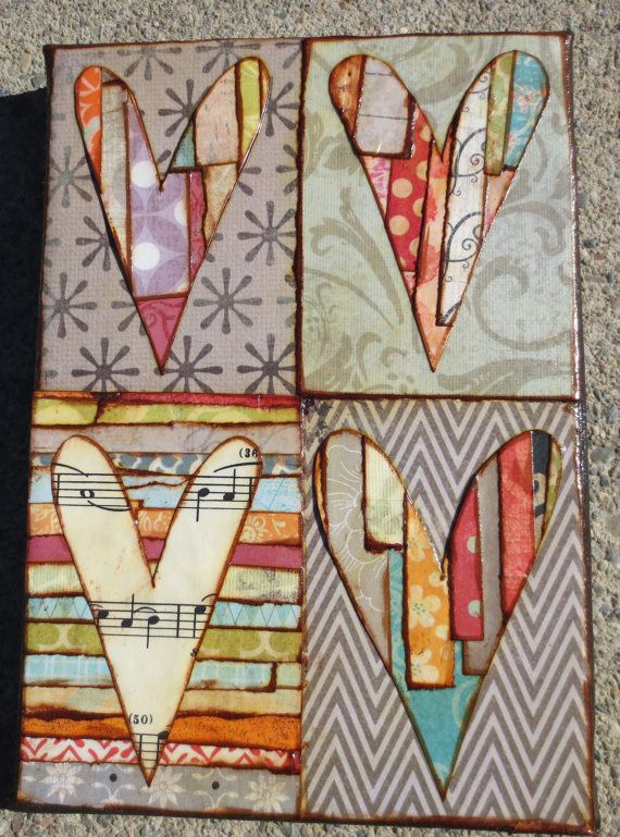 #mixedmedia #hearts. Make page background on one sheet, then do cutout on next page of spiral mixed media notebook