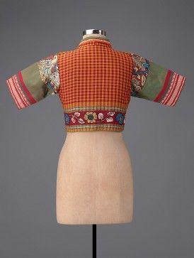 Red-Green Hand-painted Kalamkari Cotton Blouse