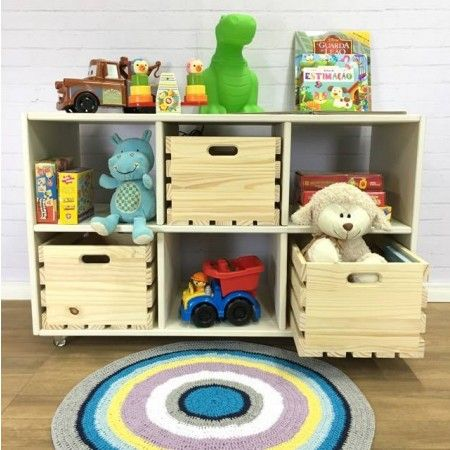 Estante Cubo com 3 Caixotes Provençal e Natural! Linda como estante, uma estante infantil para guardar brinquedos ou rack de TV!
