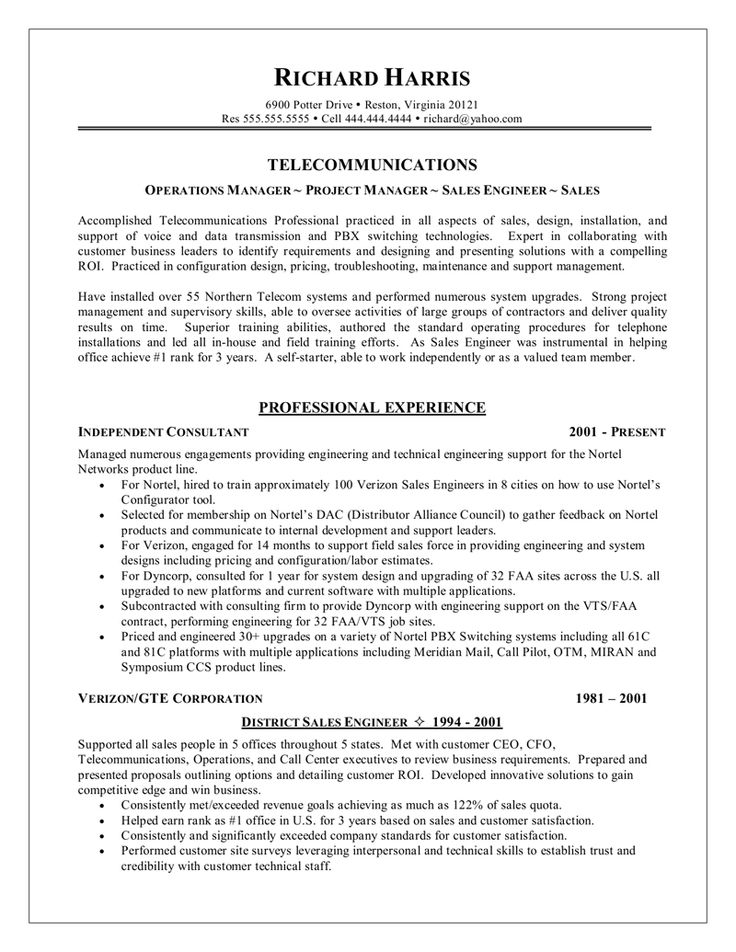 resume example Resume Samples Pinterest Resume examples and - telecommunication specialist resume