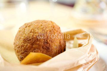 close up of rice croquette