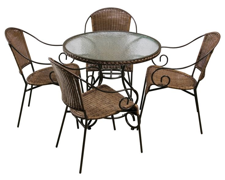 With Its Magnificent Wrought Iron Detailing, Multi Toned Round Wicker And  Clear Rippled Tempered Glass. Dining SetsDining TableOutdoor ...