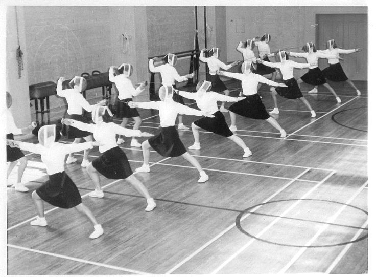 Women's Fencing Class, Hearst Gym, Berkeley, California, ca. 1950s. Repinned by Hub City Fencing Academy of Edison, NJ.