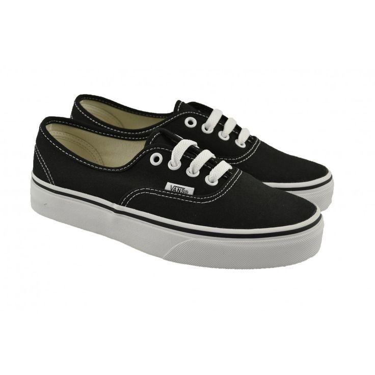 <p>Zapatillas deportivas de lona negra con suelas de goma blanca y corte en pespunteado white modelo U Authentic de la marca deportiva VANS.</p>