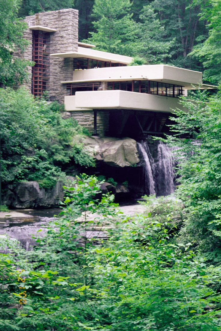Fallingwater, from path near southwest lookout. (Frank Lloyd Wright house over the waterfall)