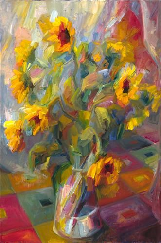 Sunflowers on Checkered Rug by Lena Levin | oil painting | Ugallery Online Art Gallery