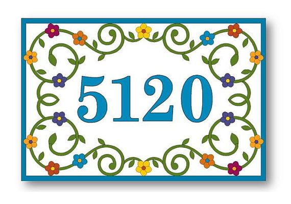 House Numbers - This Address Numbers is hand painted ceramic tile and is beautiful as it is functional. The tile, which is painted with over-glazed