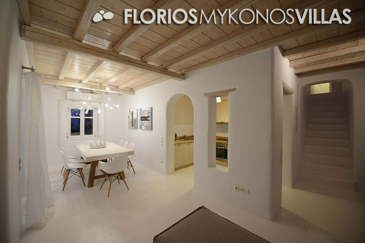 The minimal décor with elegant furniture provides a special style to the luxury Villa. The spacious living room (with fireplace) and dining room adjacent to the kitchen, is equipped with all modern appliances. FMV1327 Villa for Rent on Mykonos island, Greece. http://florios-mykonos-villas.com/property/fmv1327/