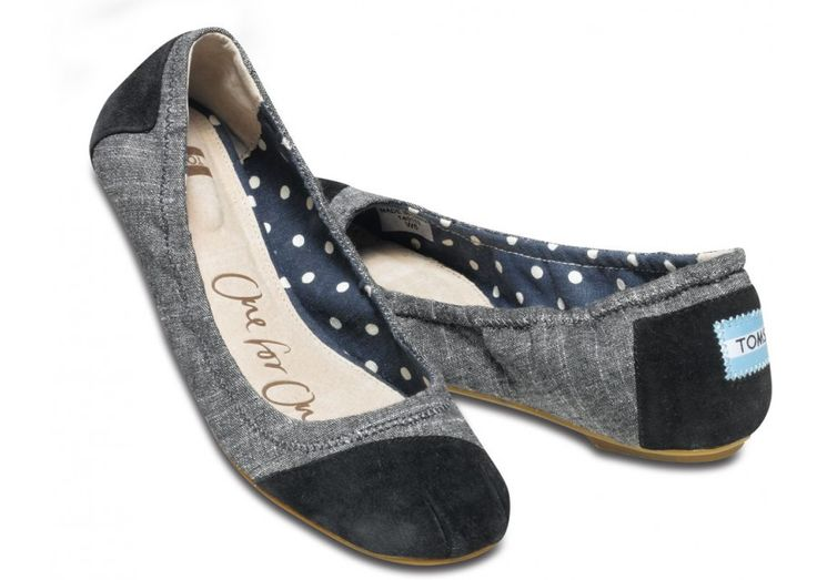 Fun Fact: To see color, you have to have light. When light shines on an object some colors bounce off the object and others are absorbed by it. Our eyes only see the colors that are bounced off or reflected. // TOMS Black Chambray Ballet Flats