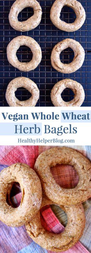 Vegan Whole Wheat Herb Bagels via Healthy Helper Blog