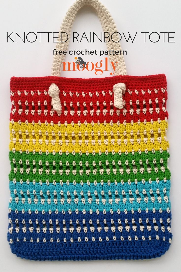 Knotted Rainbow Tote Bag - free crochet pattern on Mooglyblog.com! *** #crochet design #crochet pattern #crafts #diy #tutorial #gifts #rainbow #yarn #bag #tote