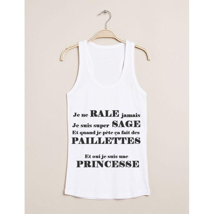 """Débardeur / T-shirt humour """"Je suis une princesse"""" pour femme - taille S à XL 21,90 € NK-Creation"""