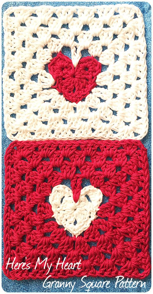 The Here's My Heart Granny Square has a heart floating at the center like a locket on a chain. I'm sharing this easy pattern.