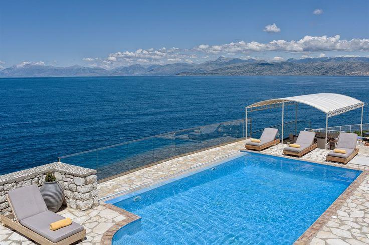 Calliope, seafront villa with pool in Kassiopi, Corfu, Greece