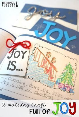 A Holiday Craft Full of JOY! Meaningful idea for a gift from students to their parents. Blog post from The Thinker Builder, with free download.