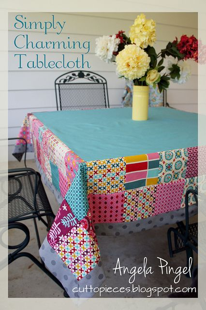 Simply Charming Tablecloth. It uses just 2 charm packs. So there is enough to have some fun but not so much that it gets overwhelming. This tablecloth is perfect for special occasions like birthdays or holidays (with the right fabrics!) but is also simple enough for every day use. There are special details like a mitered edge border and a single piece backing.