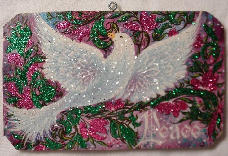 Dove Peace Glittered Christmas Ornament Vintage Greeting Card
