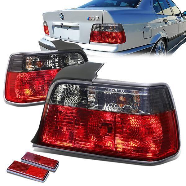 92 99 Bmw E36 318i 320i 323i 325i 328i M3 Sedan Rear Brake Tail Lights Red Smoked Lens Tail Light Bmw E36 318i Bmw 318i