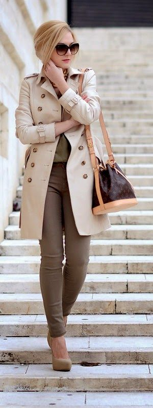 Beige Double Breasted Trench - Oh My Vogue