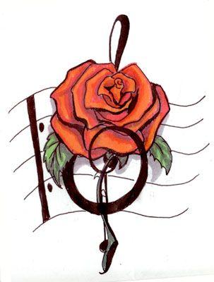 music+rose+tattoos | music note tattoos