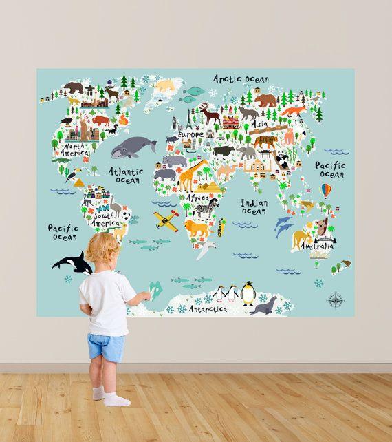 RIESIGE!!! Karte von der Welt-Kinderspielzimmer-Abziehbild / Weltkarte Wall Decals Kinder Karte Schlafzimmer Abziehbilder Spielzimmer Abziehbilder jungen Wand Aufkleber RockyMountainDecals Lassen Sie Ihre Kinder, die die Welt mit unseren farbenfrohe und lustige Weltkarte