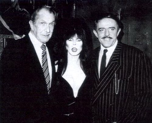 Vincent Price, Cassandra Peterson(Elvira), and John Astin(Gomez Addams)