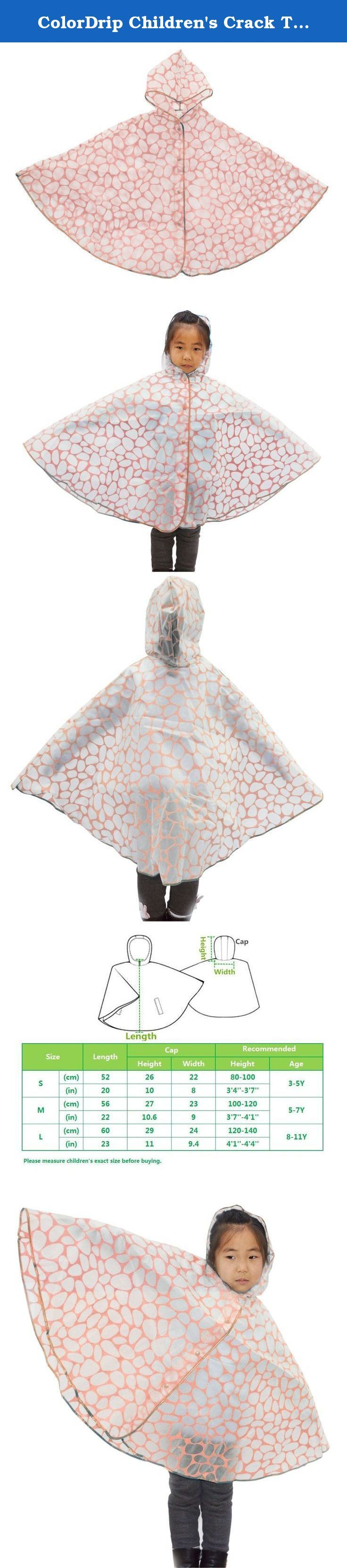 ColorDrip Children's Crack TPU Children Rain Poncho Medium Pink. *Made of special TPU, all-around heartfelt protection for your lovely sweetie; Eco-friendly and soft materials without harmful substance---absolutely skin-friendly and healthy; Excellent waterproof and free breathability---prevention from wetting in the rain comfortably; Low temperature-resistant and anti-tearing---windproof and durable even in the chilly winter; Light and crease-resistant---easy for outdoor carrying or…