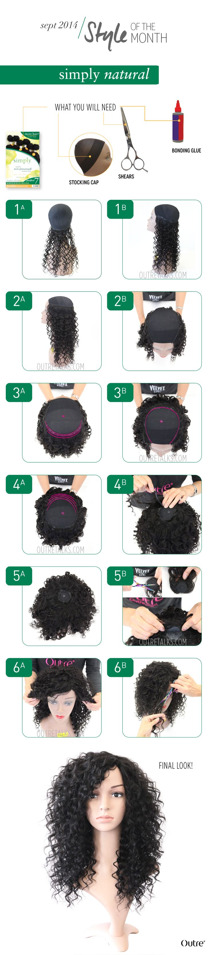 how to create a full cap wig, stocking cap wig, natural curly, full and gorgeous